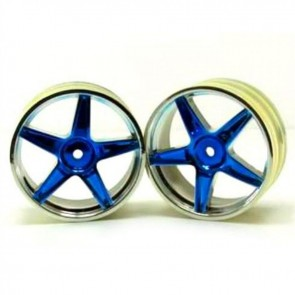 Redcat Racing Chrome Front 5 Spoke Blue Anodized Wheels RED06008PB