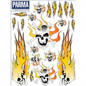 Parma Flaming Skulls Decal 6X8 PAR10768